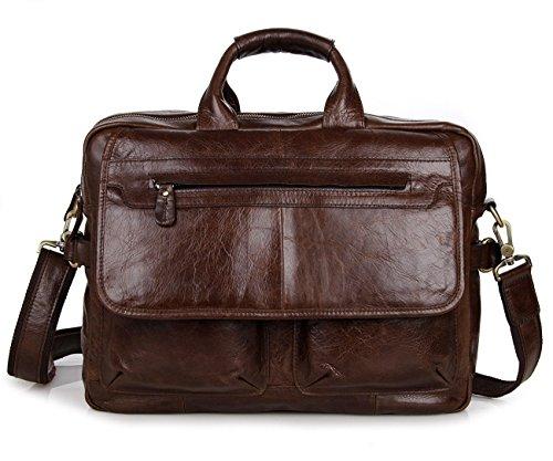 YAAGLE Mens Genuine Real Buffalo Leather Briefcase Business File Organizer...