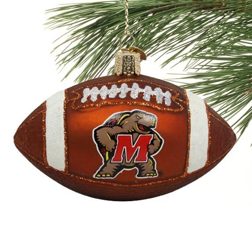 Maryland Terrapins Glass Football Ornament -