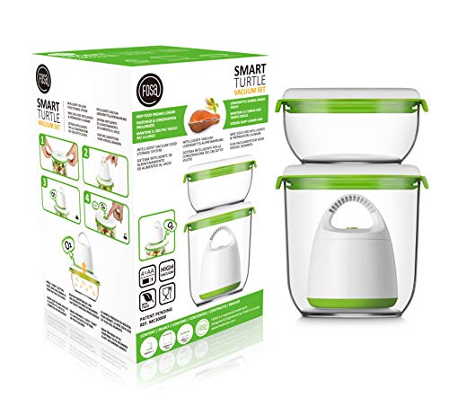 FOSA Vacuum Food Storage System Reusable Container Starter Set with Vacuum and 2 Reusable containers (Best Food Storage System)