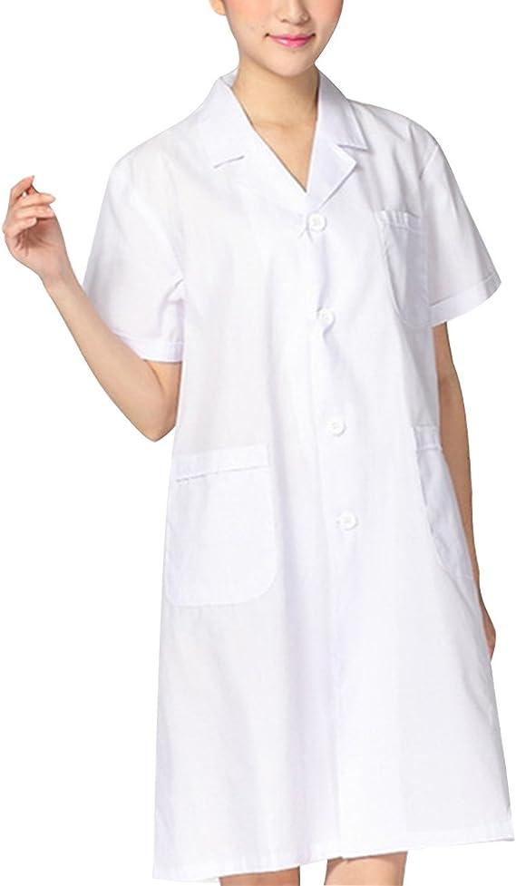 THEE Bata de Laboratorio Blanco Uniforme de Enfermera Sanitaria con Manga Corta Mujer M: Amazon.es: Juguetes y juegos