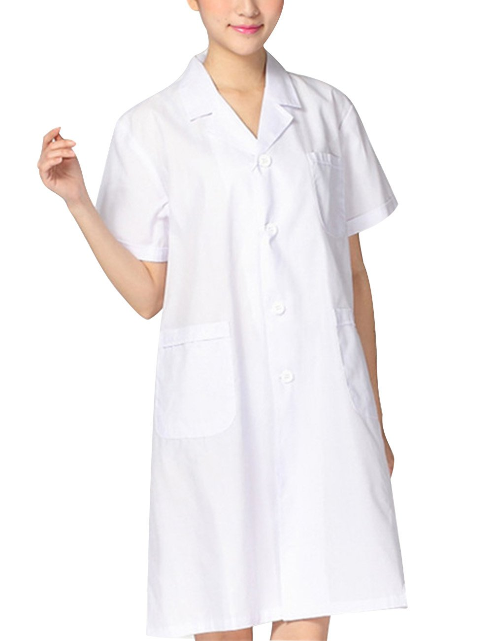 THEE White Short Sleeve Health Nurse Medical Laboratory Lab Coat Unisex