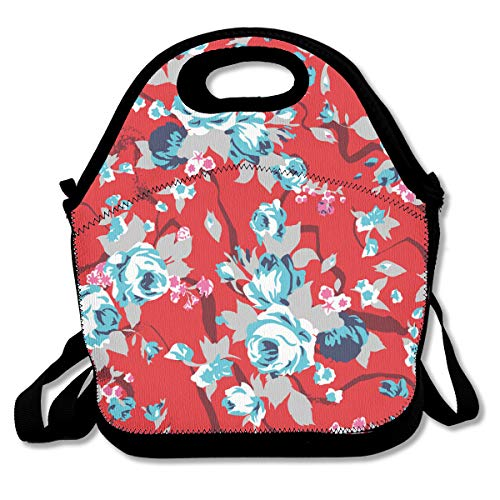 SARA NELL Neoprene Lunch Bag Vintage Red Chintz Roses Pattern Lunch Tote Bags Lunch Backpack Lunchbox Handbag with Adjustable Shoulder Strap for Work School Outdoor Picnic