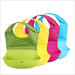 Pack of 2 x BambinoCo Roll Up Silicone Bibs With Comfortable Fabric Top - Easily Adjustable, Cute Baby Bibs - Hot Pink & Yellow
