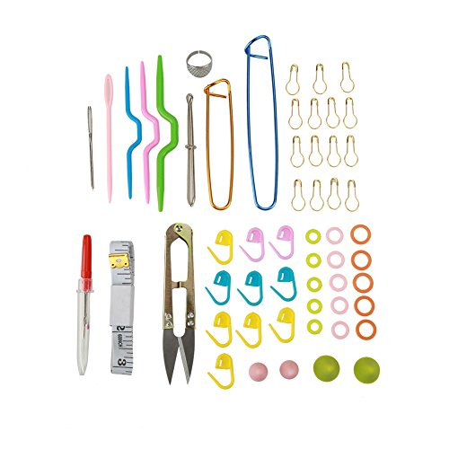 Akozon Knitting Accessories Supplies Kit, 56Pcs Basic Knitting Tools Crochet Knitting Needles Kits Tape Measure Stitch Holders Storage Case Set Tool Marker Kit