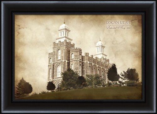 LDS (Mormon) 22.75 x 30.75 Framed Vintage Logan Temple LDS Wall - Logan Lds Temple