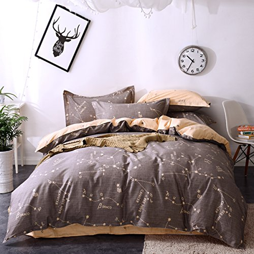 Mumgo Home Bedding for Adult Kids,Constellation Pattern 4PC Duvet Cover Sets Bedding Sets 100% Cotton(No Comforter),Queen/Full Size by WarmGo