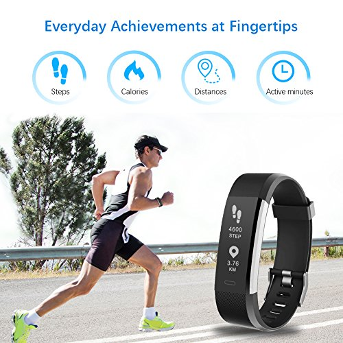 Large Product Image of LETSCOM Fitness Tracker HR, Activity Tracker Watch with Heart Rate Monitor, Waterproof Smart Band with Step Counter, Calorie Counter, Pedometer Watch for Kids Women and Men, Android & iOS