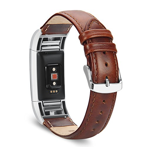 Fitbit Charge 2 Bands, Benuo Genuine Leather Replacements, Premium Wristbands with Sturdy Adapter and Metal Buckle for Fitbit Charge 2