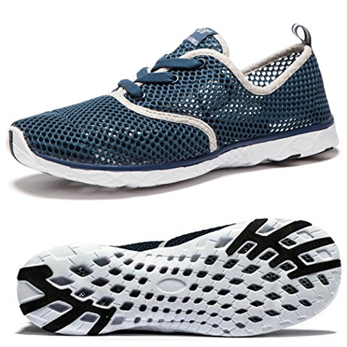 NeedBo Herren Mesh schnell trocknend Aqua Wasser Schuhe atmungsaktiv leichte Wanderschuhe Dunkelblau