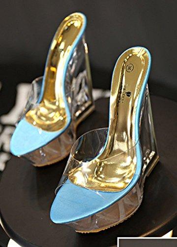 Femme Plateforme Mode Cristal Bleu Mules Aisun Compensé Talon avec zOzvw