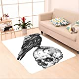 Nalahome Custom carpet ry Decor Scary Movies Theme Crow Bird Sitting on a Human Old Skull Sketchy Image Black and White area rugs for Living Dining Room Bedroom Hallway Office Carpet (5' X 8')