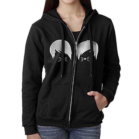 KJhsfub Casual Womens Dan And Phil Cat Whiskers Full-Zip Sweatshirt Hoodie Jacket X-Large - Cat Womens Zip Hoodie