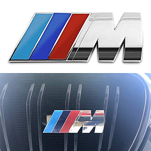 Duoles M Front Grille Emblem, 3D Metal Power Car Front Grille Chrome Badge Fashion Logo for BMW M3 M5 X1 X3 X5 X6 E36 E39 E46 E30 E60 E92 (Blue) (M Power Grill Emblem)