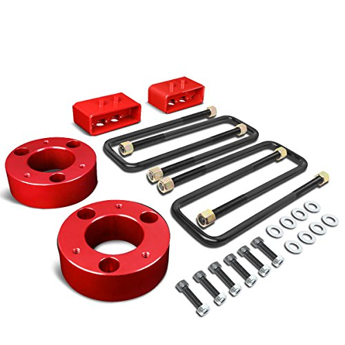 "For Ford F150 4Pcs Red 3"" Front 2"" Rear Leveling Lift Kit Spacers/Blocks + U-Bolts"