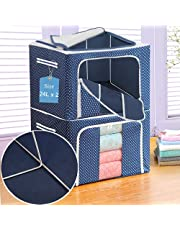 Yancorp 2 Pack Clothes Storage Box Foldable Stackable Storage Bins Oxford Cloth Steel Frame Storage Box for Clothes Bed Blankets Bedding Pillow(Blue,24L x 2Pcs)