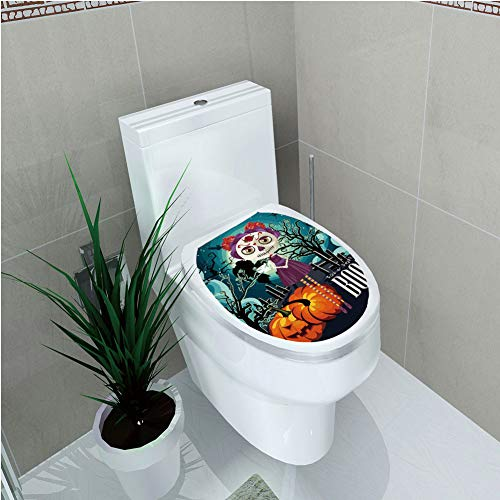 Toilet Cover Decoration,Halloween,Cartoon Girl with Sugar Skull Makeup Retro Seasonal Artwork Swirled Trees Boo Decorative,Multicolor,3D -