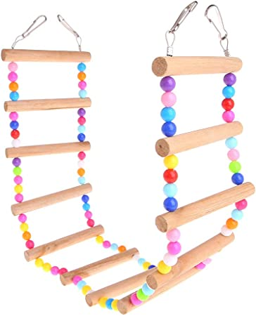 Parrot Toys Escalera Escalera de madera natural para pájaros, periquitos, jaula para colgar escaleras 12: Amazon.es: Hogar
