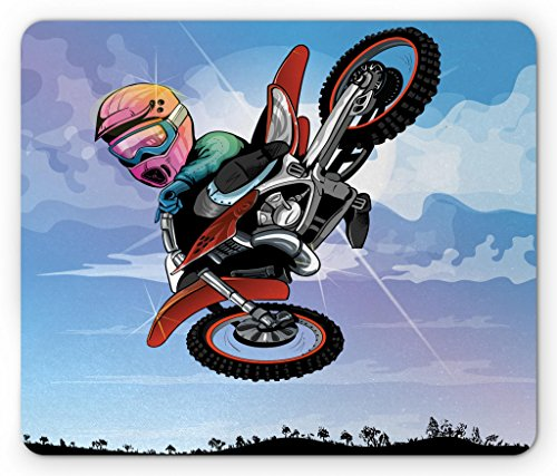 Lunarable Dirt Bike Mouse Pad, Cartoon Motocross Rider Boy Making an Artistic Move in The Air Competitive Sports, Standard Size Rectangle Non-Slip Rubber Mousepad, Multicolor