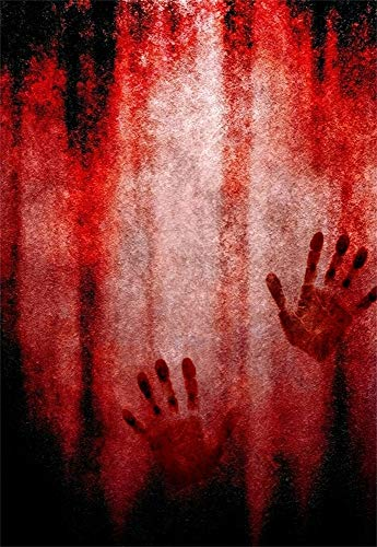 Laeacco Halloween Bloody Hand Print Crimson Background 5x7ft Photography Backdrop Abstract Scary Backdrop Photo Shooting Studio Prop