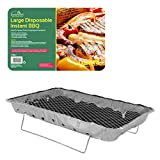GardenKraft 19950 Family Size Disposable BBQ with Stand Ideal for Parties Picnics Camping, Silver, W48 x D31 x H6.5cm