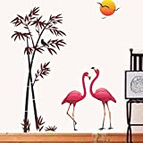 Decals Design 'Flamingos and Bamboo at Sunset' Wall Sticker (PVC Vinyl, 90 cm x 60 cm)