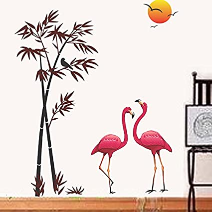 Decals Design Flamingos and Bamboo at Sunset Wall Sticker (PVC Vinyl, 90 cm x 60 cm, Multicolour)