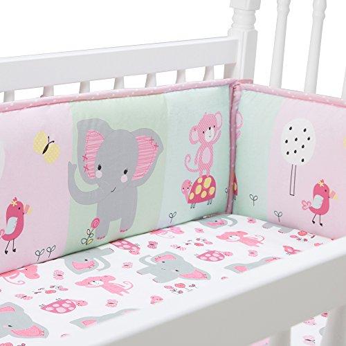 Bedtime Originals Twinkle Toes Multi Jungle 4 Piece Crib Bumper, Pink by Bedtime Originals (Image #2)