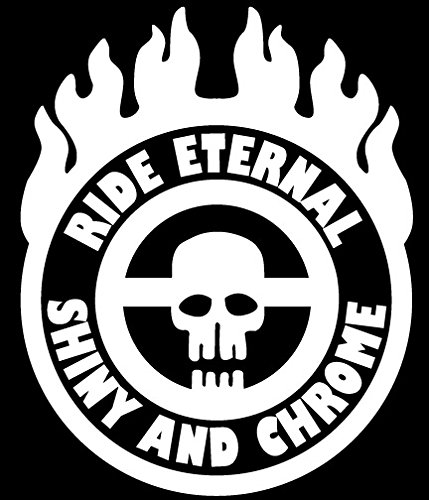 Ride Eternal Shiny and Chrome Badge Mad Max Style Vinyl Jeep Truck Rig Decal Sticker Small or Large Sizes - Small - White