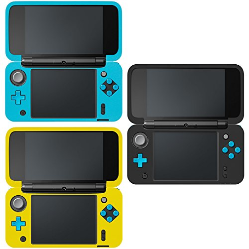 Blue Silicone Protective Skin - Protective Case Compatible New Nintendo 2DS XL, AFUNTA Set of 3 Anti-Slip Silicone Cover with Comfort Feeling - Black, Blue, Yellow