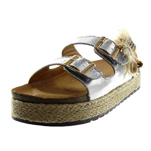 Corde Plume Sandale Compensé Chaussure Talon Mode 4 Plateforme Folk on Brillant Plateforme Argent Angkorly Femme Mule cm Slip UvPOw