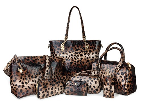 Hoxis Pack of 7 Bags Women Multi-purpose Classic Design Patent Purse Leatherette Shoulder Handbag(Leopard Print) ()