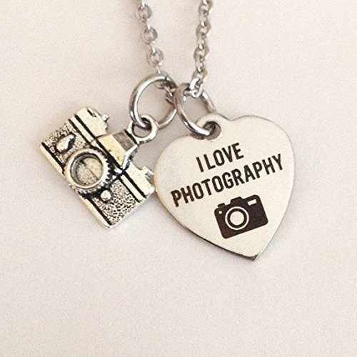Photographer necklace - photography - I Love Photography - camera buff - petite stainless steel