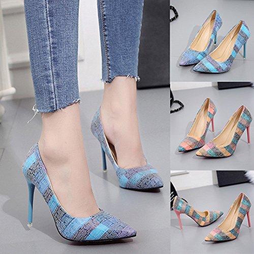 Da Donna Sottili Estremamente Beikoard Scarpe SizeScarpa Tacchi asia Sexy Con Blu H Alti 54Ajqc3RL