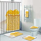 PRUNUSHOME 5-piece Bathroom Set-Includes Shower Curtain Liner,thai desserts are sweet Decorate the bathroom(Small)