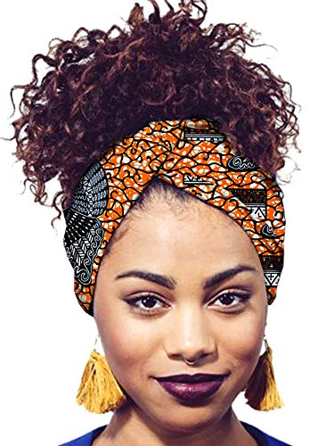(Ababalaya Women's Extra Long African Traditional Print Head Wrap Headband Tie 78×2 inch,402)