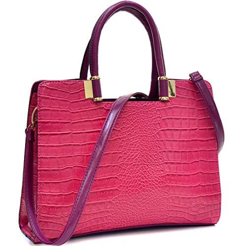 Dasein Classic Crocodile Leather Textured Shoulder Handbag Purse with Removable Shoulder Strap - Fuchsia (Crocodile Look Leather)