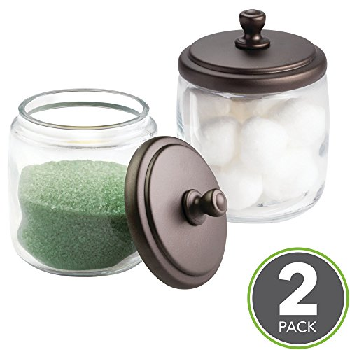 mDesign Bathroom Vanity Glass Storage Organizer Canister Jars for Q tips, Cotton Swabs, Cotton Rounds, Cotton Balls, Makeup Sponges, Bath Salts - Pack of 2, Short Clear/Bronze - Bronze Jar