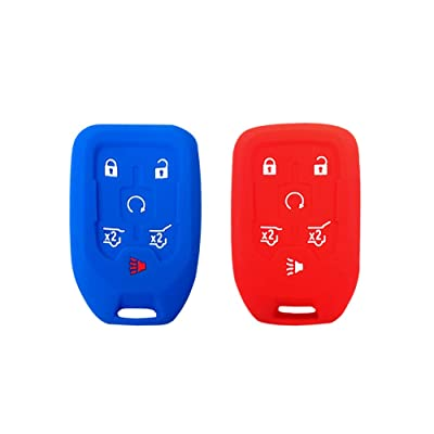 BAR Autotech Remote Key Silicone Rubber Keyless Entry Shell Case Fob and Key Skin Cover 6 Buttons Fit For 2015 2016 Chevrolet Suburban Tahoe GMC Yukon (Blue+Red): Automotive