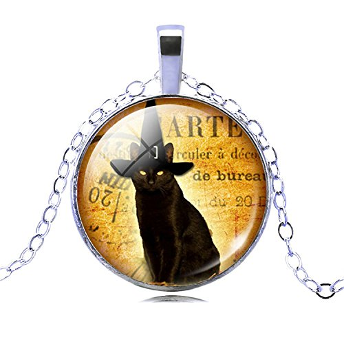 Necklace Chain Extender Necklace Glass Silver Bronze Chain Necklace Black Cat Picture Vintage Pendant Necklace Women 10
