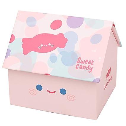 Caja de Regalo Creativa para niños Casa pequeña Forma Caja de Almacenamiento para computadora multifunción Rosa