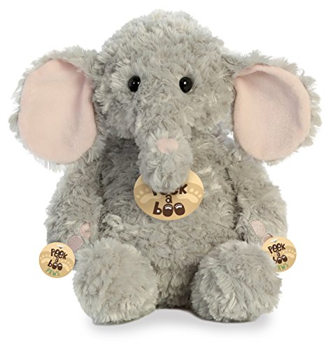 Aurora Peek A Boo- Elephant Plush, Grey