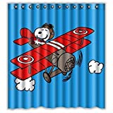 Custom Snoopy Play Waterproof Bathroom Shower Curtain Polyester Fabric Shower Curtain Size 66 X 72
