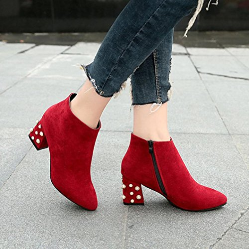 Shoes by Heel Women's Red Pearl Boots Topunder Decoration Spring Square Ankle Rqaw1