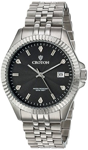 Croton Mens Stainless Steel Watch (CROTON Men's 'Heritage' Quartz Stainless Steel Casual Watch, Color:Silver-Toned (Model: CN307528SSBK))