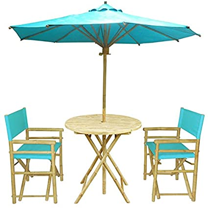 Zew 4 Piece Bamboo Outdoor Patio Set Includes Round Table, 2 Treated Canvas  Chairs