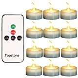 Topstone LED Tea Light,Flameless Flickering Tealight with Remote Control,Long Lasting Battery Operated LED Tealights Candle with Timer,for Seasonal &Festival Celebration,Pack of 12(Warm White)