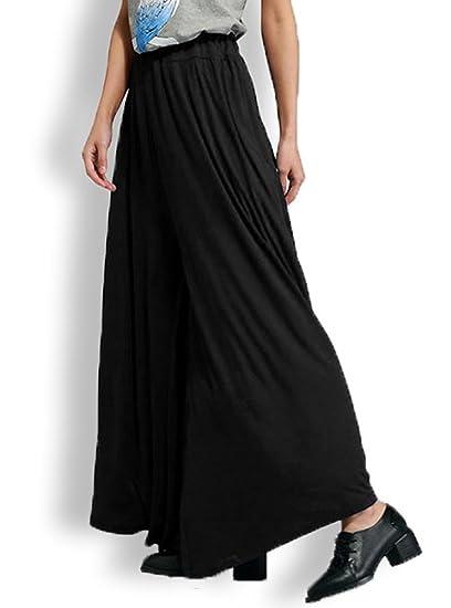 f1f0822ecdbe6 Freedi Women Wide Leg High Waist Yoga Palazzo Pants Sleep Lounge Basic  Stretch Cotton Maxi Skirt