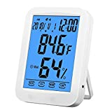 Smiler+ Hygrometer Thermometer, Multifunctional Temperature Humidity Meter, Indoor Humidity Gauge with Alarm Clock Jumbo Touchscreen with Backlight