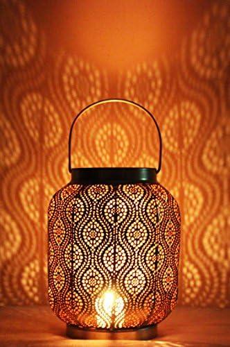 Photophore marocain pour lext/érieur au jardin ou lint/érieur sur la table d/écoration de maison orientale Petite Lanterne marocaine en m/étal Baghira 26cm noir Lanternes pour bougie