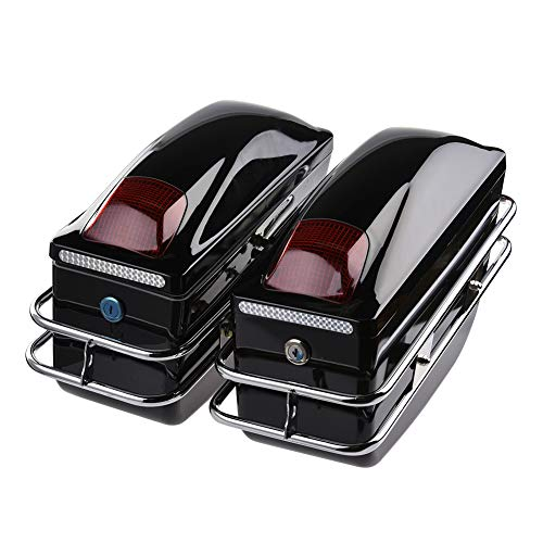 Facaimo 2 Pcs Motorcycle Cruiser Hard Trunk-Tail Box - Saddle Bags- Luggage w/Lights Mounted Kits Chrome Rail Bracket Black Top Rack & Backrest &TailLight